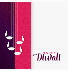 Happy diwali greeting in flat color design vector