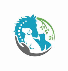 horse dog cat animal logo template vector image