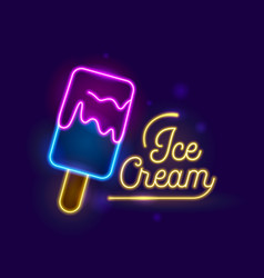 ice cream neon light effect retro banner design vector image