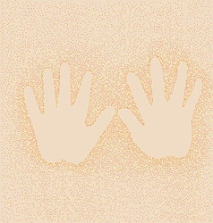 Imprint of childrens hands on background of sand vector