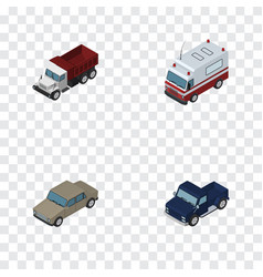 isometric transport set of auto freight first vector image