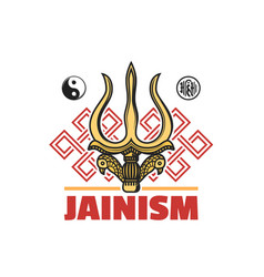 Jainism religion symbol icon jain dharma signs vector