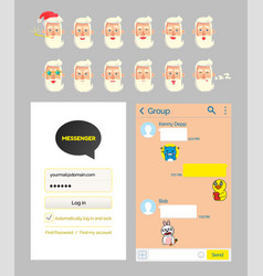 kakao talk messenger design mockup and stickers vector image
