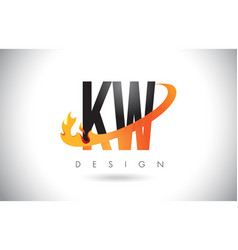 kw k w letter logo with fire flames design and vector image