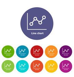 Line chart icons set color vector