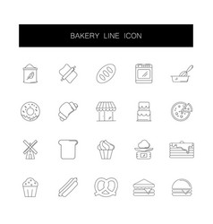 line icons set bakery pack vector image