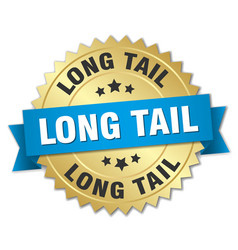 Long tail round isolated gold badge vector