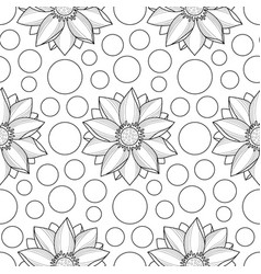 Lotus and circles seamless pattern vector