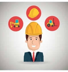 man construction helmet lift truck vector image