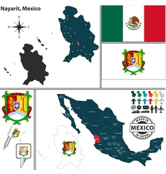 Map of Nayarit vector image vector image