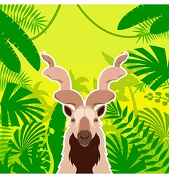 Markhor on the Jungle Background vector image