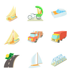 Means of transportation icons set cartoon style vector