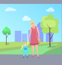 mother and kid walking woman in city park vector image
