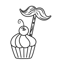 muffin with moustache black and white vector image