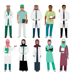 muslim doctor and arabian nurse icons vector image