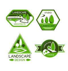 Nature emblem for landscaping services design vector