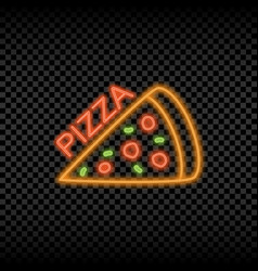 neon light sign pizza cafe vector image
