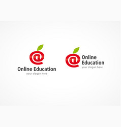 Online education logo apple vector