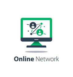 Online network computer monitor internet portal vector