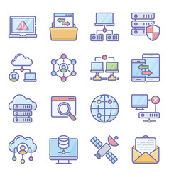 Pack communication devices icons vector