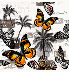 pattern with butterflies and palm trees for design vector image
