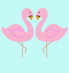 pink flamingo on the blue vector image