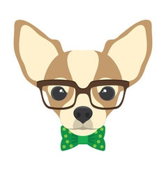 Portrait of chihuahua dog with glasses and bow tie vector