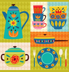 poster vintage kitchen vector image