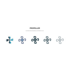 Propeller icon in different style two colored vector