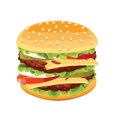 realistic burger tasty include cutlet onion vector image
