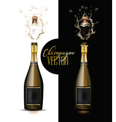 realistic champagne explosion set vector image