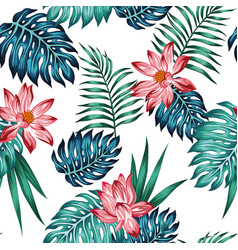 realistic tropical blue green leaves red lotus vector image