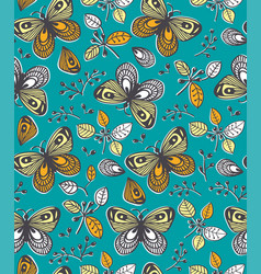 Seamless pattern with flowers butterfly and vector