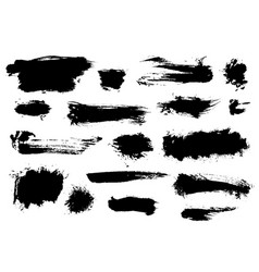 Set of shaggy different black brushstrokes vector