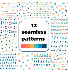 Set of simple shapes seamless patterns vector