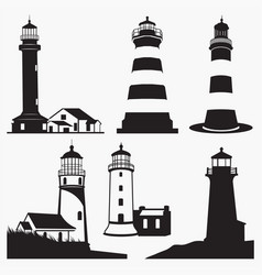 Silhouettes of lighthouse vector