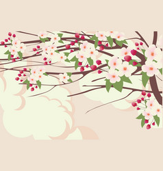 Spring landscape with branches blooming tree vector