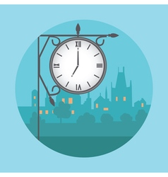 Street clock in the background of night city vector image