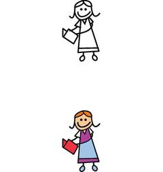 Teacher stick figure vector