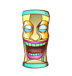 tiki idol carved wooden crying totem color vector image