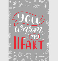 Valentine day poster hand drawn poster or card vector