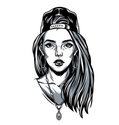 Vintage pretty girl in baseball cap vector