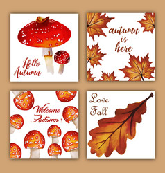 Watercolor autumn cards with red orange yellow vector