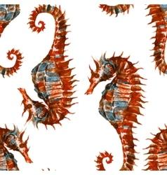 Watercolor seahorse pattern vector