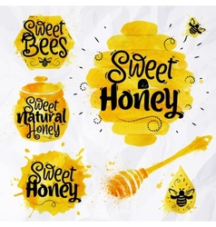 Watercolors symbols honey vector