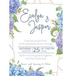 wedding watercolor seasonal flower cardleaves vector image