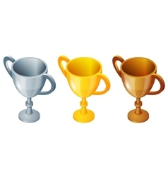 Winner cup set Winner cup gold silver and vector image
