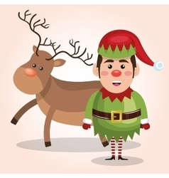 elf reindeer christmas card design isolated vector image