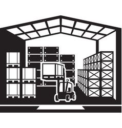 forklift transports pallets in warehouse vector image vector image