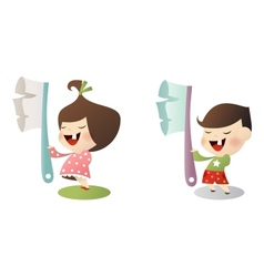 kids with toothbrush vector image